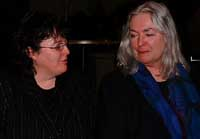 Carol Ann Duffy (left) and Gillian Clarke in conversation after the reading, Photo: O Jaquest, 9k